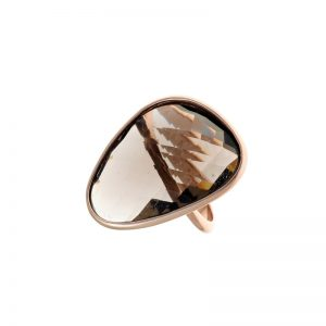 Δαχτυλίδι Gregio από Ροζ Επιχρυσωμένο Ασήμι με Ημιπολύτιμο Λίθο