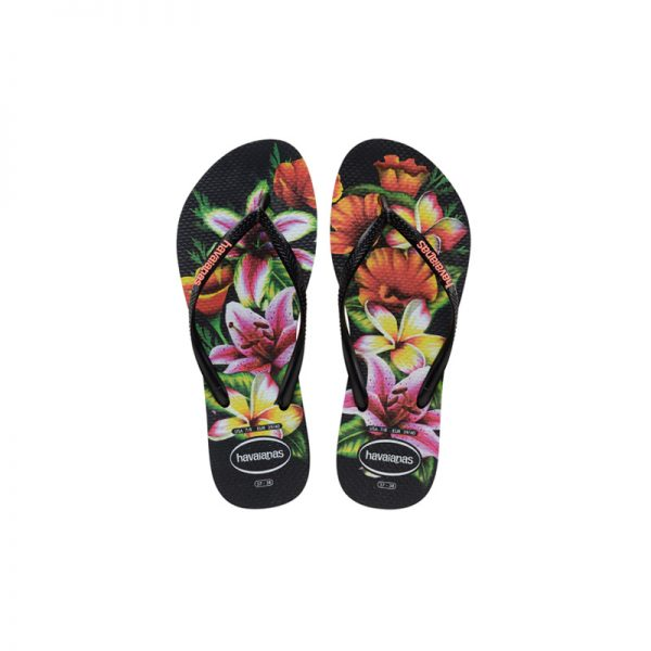 Σαγιονάρες Havaianas Slim Floral Black/Black – 4129848-1069