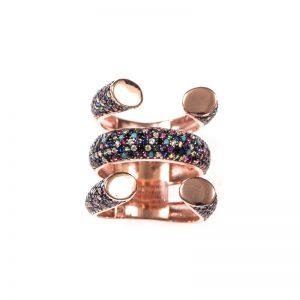 Δαχτυλίδι Από Ροζ Επιχρυσωμένο Ασήμι Και Πολύχρωμες Πέτρες Ζιργκόν