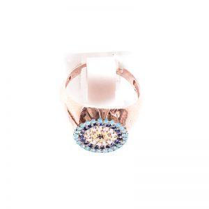 Δαχτυλίδι Από Ροζ Επιχρυσωμένο Ασήμι Και Τιρκουάζ Πέτρες Ζιργκόν
