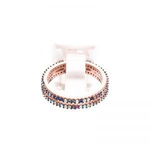 Δαχτυλίδι από Ροζ Επιχρυσωμένο Ασήμι και Πολύχρωμα Κρύσταλλα Ζιργκόν - RCZP5