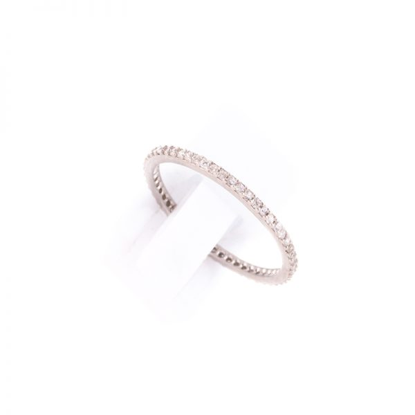 Δαχτυλίδι από Επιπλατινωμένο Ασήμι και Λευκά Κρύσταλλα Ζιργκόν