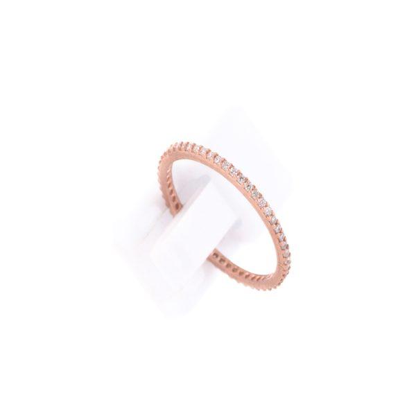 Δαχτυλίδι από Ροζ Επιχρυσωμένο Ασήμι και Λευκά Κρύσταλλα Ζιργκόν