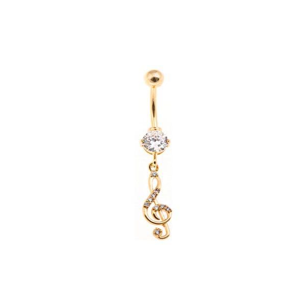 Σκουλαρίκι Αφαλού από Ατσάλι Επιχρυσωμένο με Ζιργκόν – STB18
