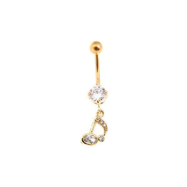 Σκουλαρίκι Αφαλού από Ατσάλι Επιχρυσωμένο με Ζιργκόν – STB20