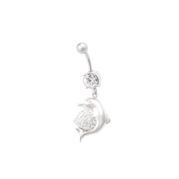 Σκουλαρίκι Αφαλού από Ατσάλι με Ζιργκόν - STB17