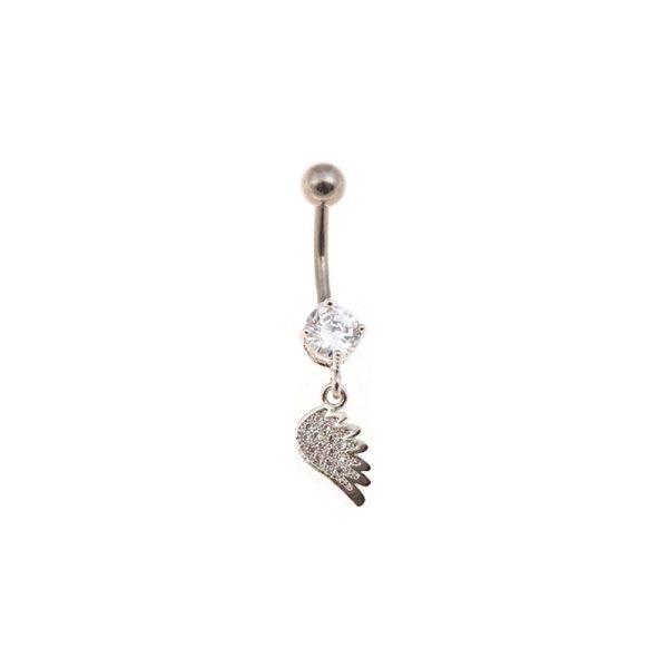 Σκουλαρίκι Αφαλού από Ατσάλι με Ζιργκόν – STB12