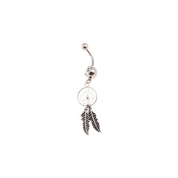 Σκουλαρίκι Αφαλού από Ατσάλι με Στρας – STB15