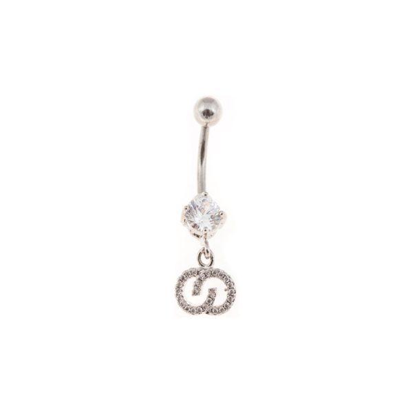 Σκουλαρίκι Αφαλού από Ατσάλι με Ζιργκόν – STB9