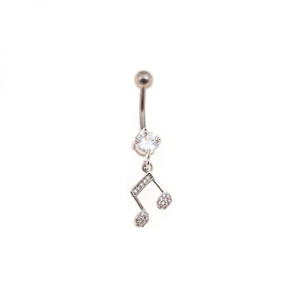 Σκουλαρίκι Αφαλού από Ατσάλι με Ζιργκόν - STB13