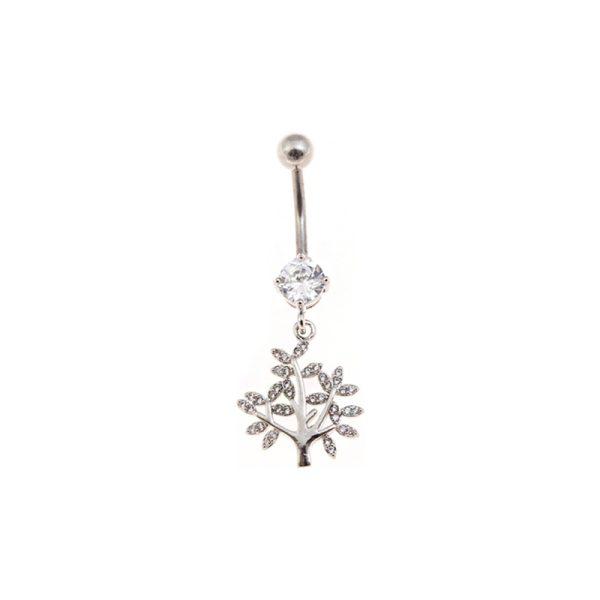 Σκουλαρίκι Αφαλού από Ατσάλι με Ζιργκόν – STB14