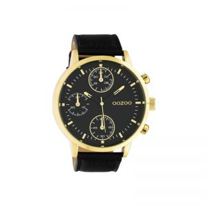 Ρολόι Timepieces Black Leather Strap – C10531