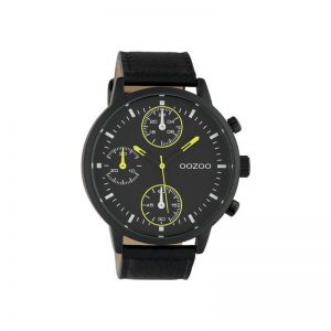 Ρολόι Timepieces Black Leather Strap – C10534