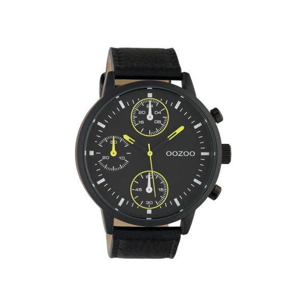 Ρολόι Timepieces Black Leather Strap - C10534