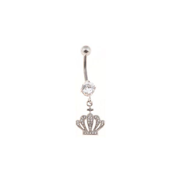 Σκουλαρίκι Αφαλού από Ατσάλι με Ζιργκόν – STB11