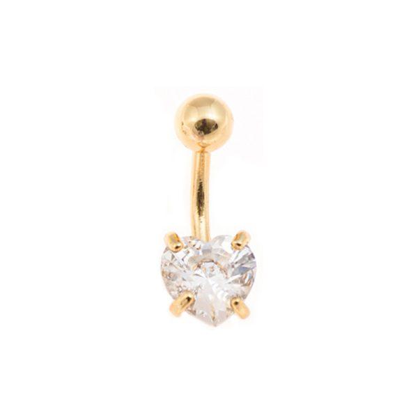 Σκουλαρίκι Αφαλού από Ατσάλι Επιχρυσωμένο με Ζιργκόν – NAX87