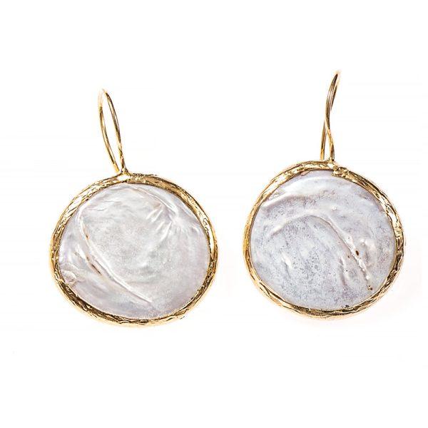 Σκουλαρίκια Μπρούτζινα Επιχρυσωμένα με Ημιπολύτιμο Λίθο - FST7