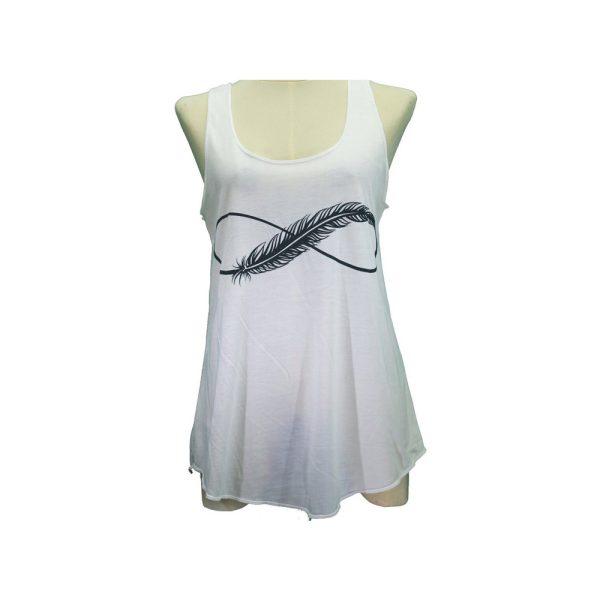 Μπλούζα Αμάνικη Λευκή με Σχέδιο – TX22BK