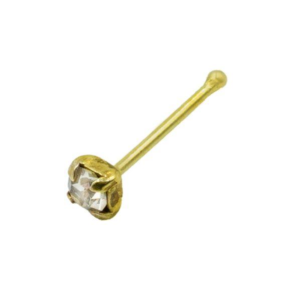 Σκουλαρίκι Μύτης Ασημένιο Επιχρυσωμένο με Στρας - L34813W