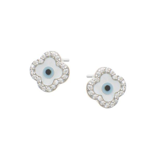 Σκουλαρίκια Αυτιού Ασημένια Επιπλατινωμένα με Σχέδιο - D338736