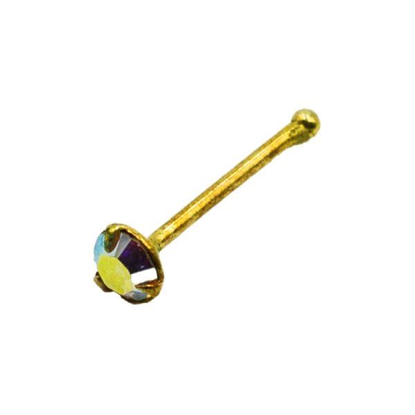 Σκουλαρίκι Μύτης Ασημένιο Επιχρυσωμένο με Στρας – L34808WY