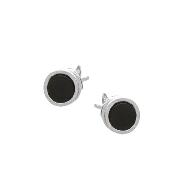 Σκουλαρίκια Αυτιού Ασημένια Επιπλατινωμένα με Σχέδιο και Σμάλτο - D338225SB