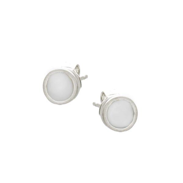 Σκουλαρίκια Αυτιού Ασημένια Επιπλατινωμένα με Σχέδιο και Σμάλτο - D338225SW