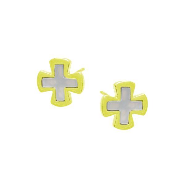 Σκουλαρίκια Αυτιού Ασημένια Επιχρυσωμένα με Σμάλτο - D338465G