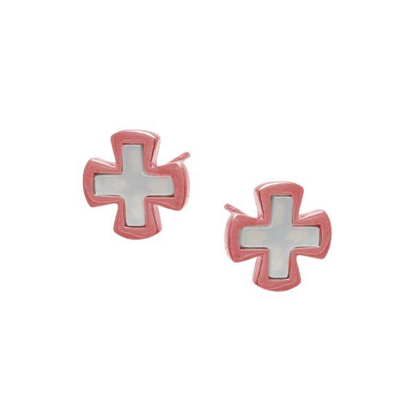 Σκουλαρίκια Αυτιού Ασημένια με Επιχρύσωμα και Σμάλτο - D338465R