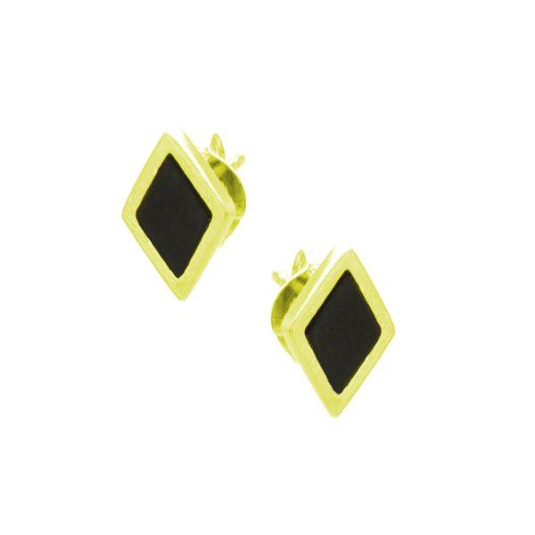 Σκουλαρίκια Αυτιού Ασημένια Επιχρυσωμένα με Σμάλτο - D338227GB