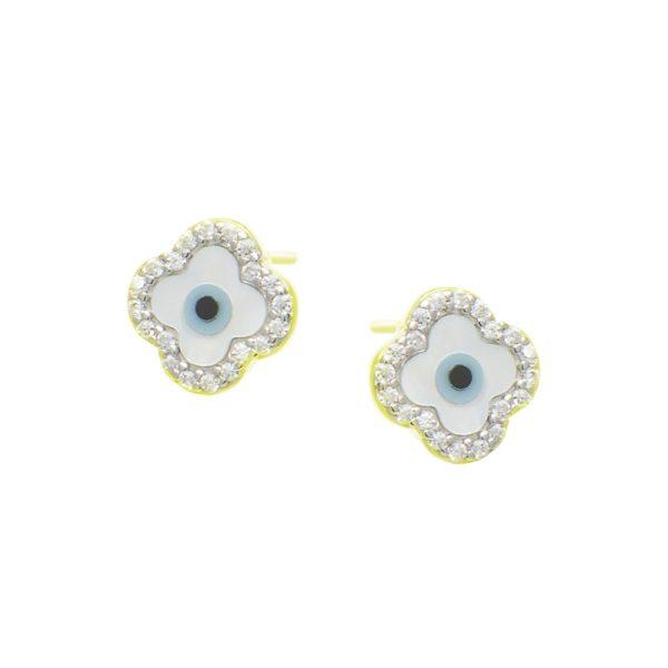 Σκουλαρίκια Αυτιού Ασημένια Επιχρυσωμένα με Σχέδιο και Ζιργκόν - D338736G