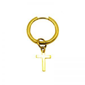 Σκουλαρίκι Αυτιού από Ατσάλι Επιχρυσωμένο Και Σχέδιο - EST119G