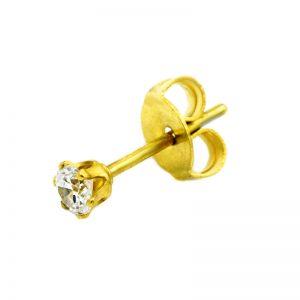 Σκουλαρίκι Αυτιού από Ατσάλι Επιχρυσωμένο με Ζιργκόν - STECZ2CW