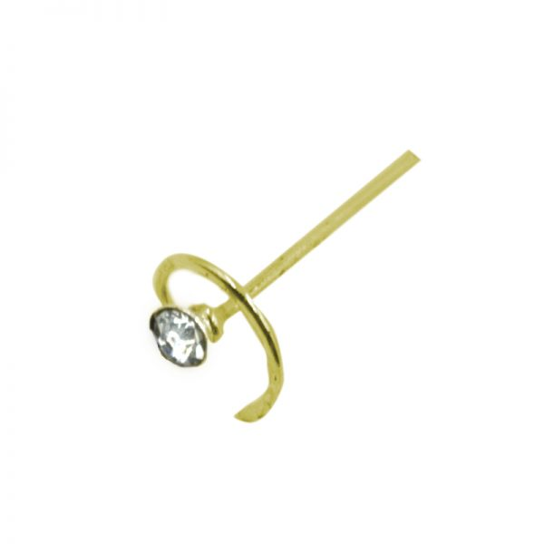 Σκουλαρίκι Μύτης Ασημένιο Επιχρυσωμένο με Στρας – L34741W
