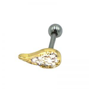 Σκουλαρίκι Αυτιού από Ατσάλι Επιχρυσωμένο με Ζιργκόν – AKF105G