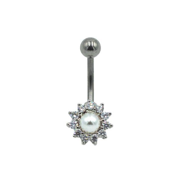 Σκουλαρίκι Αφαλού από Ατσάλι με Ζιργκόν – NAX96