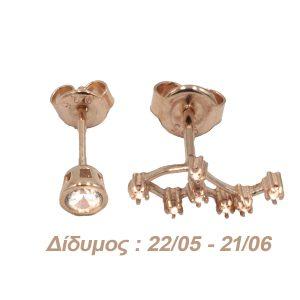 Σκουλαρίκια Αυτιού Ασημένια με Επιχρύσωμα και Ζιργκόν – AG3