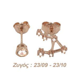 Σκουλαρίκια Αυτιού Ασημένια με Επιχρύσωμα και Ζιργκόν – AG7
