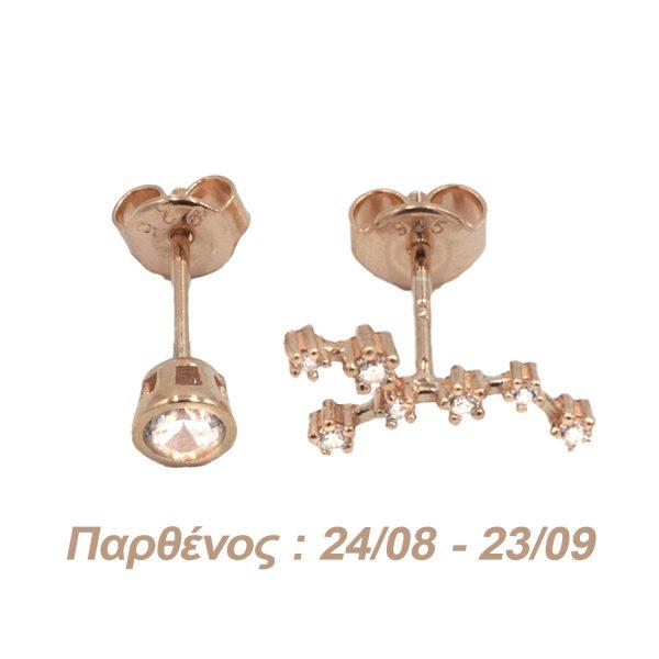 Σκουλαρίκια Αυτιού Ασημένια με Επιχρύσωμα και Ζιργκόν – AG6