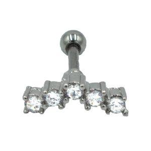 Σκουλαρίκι Αυτιού από Ατσάλι με Ζιργκόν - AFK017