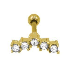 Σκουλαρίκι Αυτιού από Ατσάλι Επιχρυσωμένο με Ζιργκόν - AFK017G