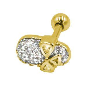 Σκουλαρίκι Αυτιού από Ατσάλι Επιχρυσωμένο με Ζιργκόν - AFK021G