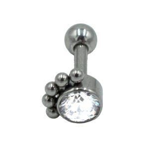 Σκουλαρίκι Αυτιού από Ατσάλι με Ζιργκόν - AFS051