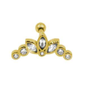 Σκουλαρίκι Αυτιού από Ατσάλι Επιχρυσωμένο με Ζιργκόν – AFK020G