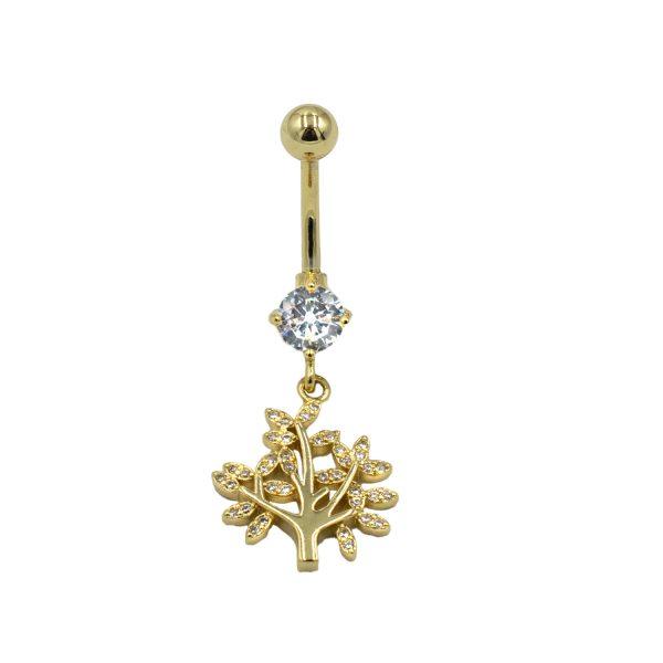 Σκουλαρίκι Αφαλού από Ατσάλι Επιχρυσωμένο με Ζιργκόν – HNS8831
