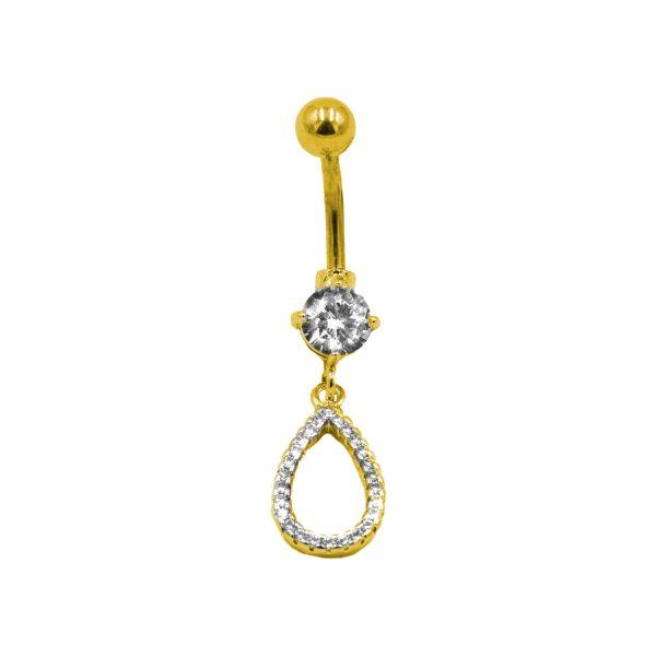 Σκουλαρίκι Αφαλού από Ατσάλι Επιχρυσωμένο με Ζιργκόν – NAX150