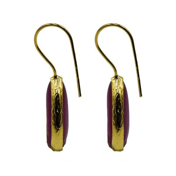 Σκουλαρίκια Αυτιού Μπρούτζινα Επιχρυσωμένα με Ημιπολύτιμους Λίθους – FSTN7