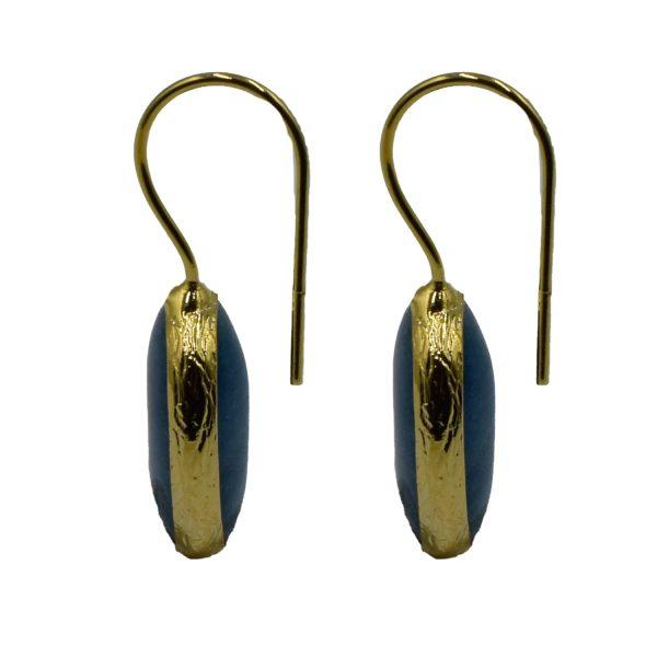 Σκουλαρίκια Αυτιού Μπρούτζινα Επιχρυσωμένα με Ημιπολύτιμους Λίθους – FSTN8