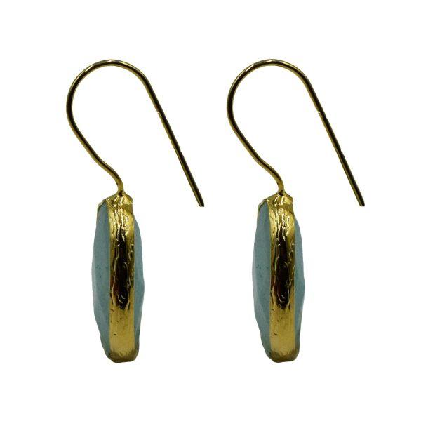 Σκουλαρίκια Αυτιού Μπρούτζινα Επιχρυσωμένα με Ημιπολύτιμους Λίθους – FSTN4