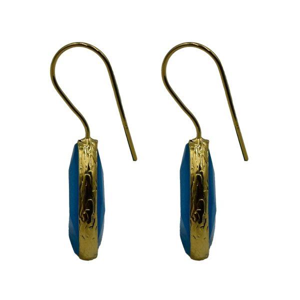 Σκουλαρίκια Αυτιού Μπρούτζινα Επιχρυσωμένα με Ημιπολύτιμους Λίθους – FSTN5